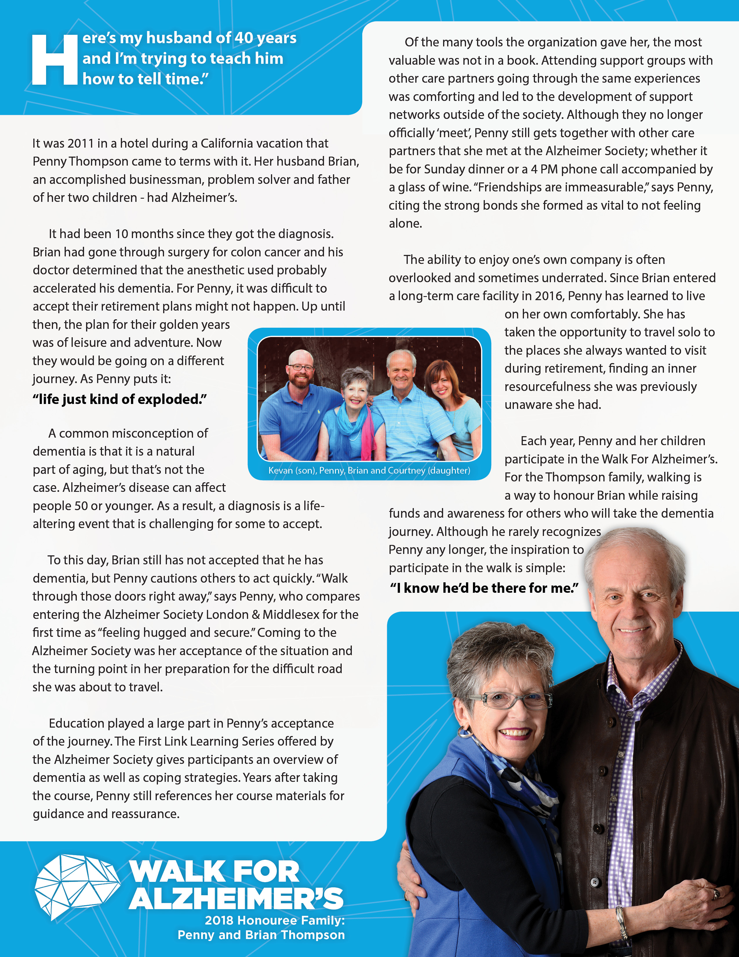 WFA Honouree Family | Alzheimer Society London and Middlesex